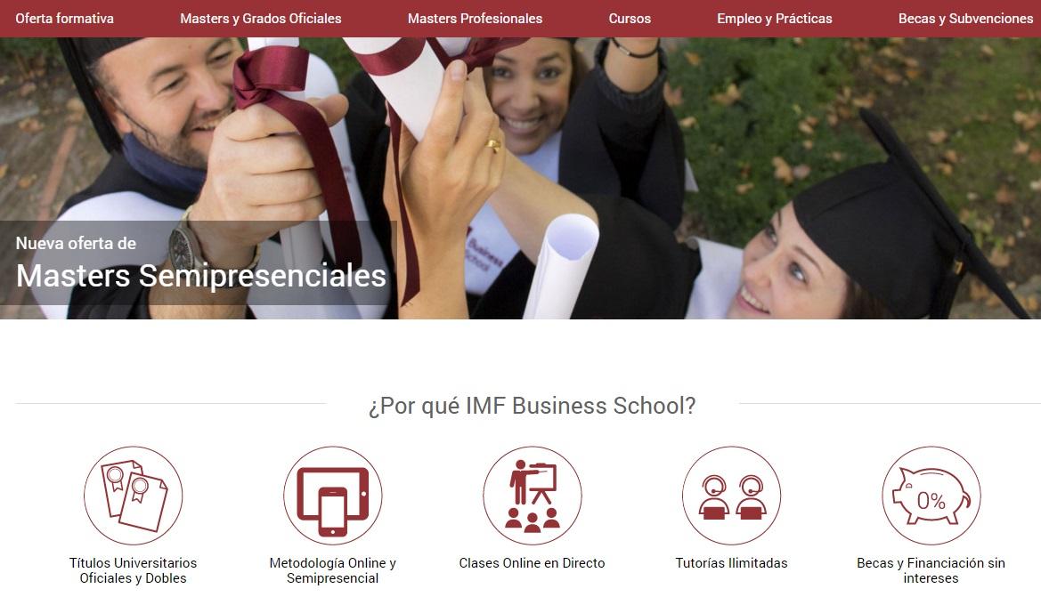 Funcionalidades Nueva web IMF Business School