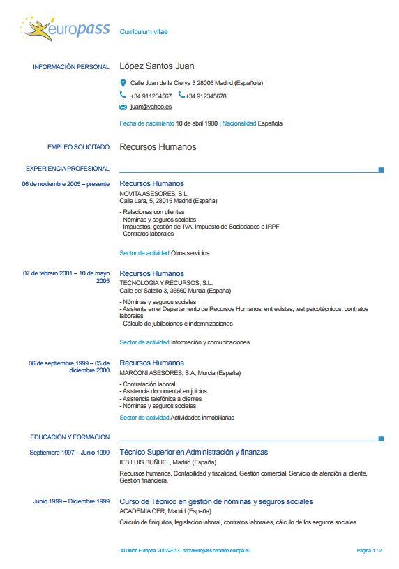 El Europass Cv Que Es Ejemplos E Instrucciones