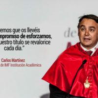El discurso motivador de Carlos Martínez en la Graduación IMF 2018