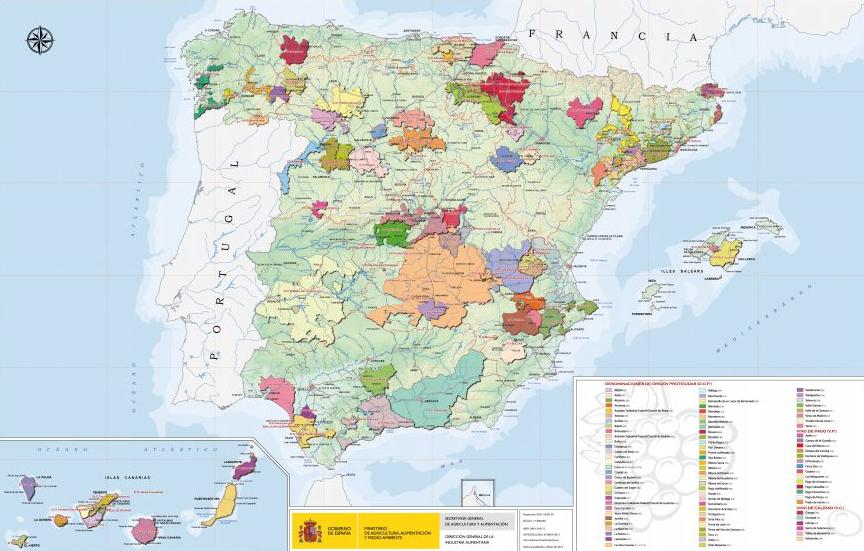 Mapa-vinicola Principales zonas vinícolas de España que debes conocer