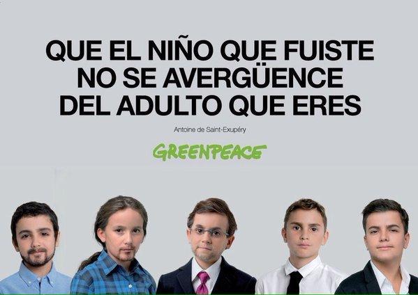 Campaña Greenpeace con niños políticos