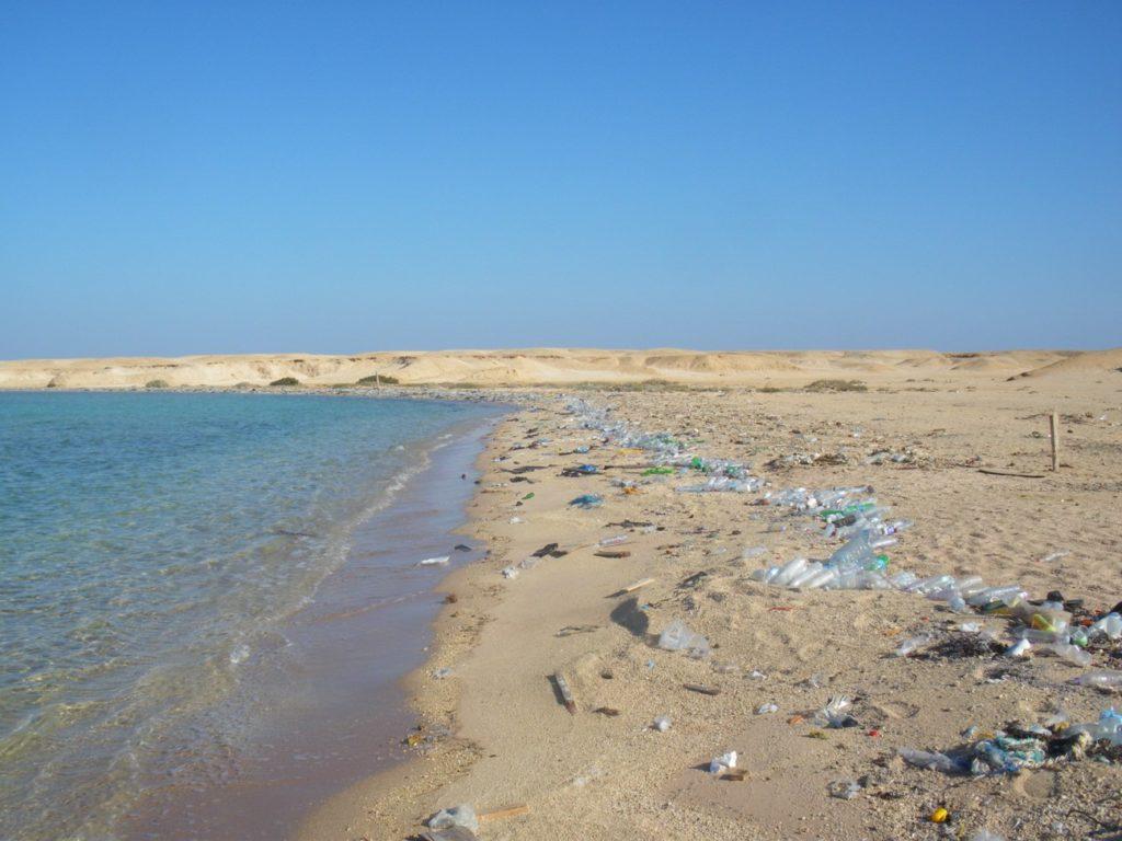 playa con plásticos