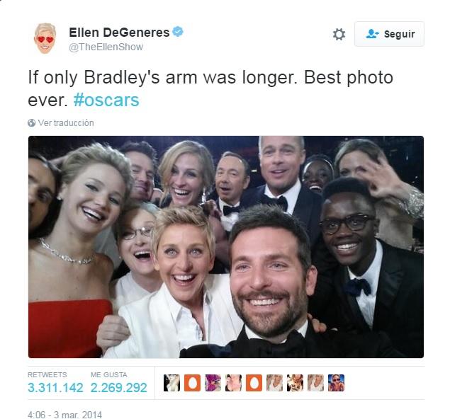 Ellen de Generes, y el selfie más compartido de la historia