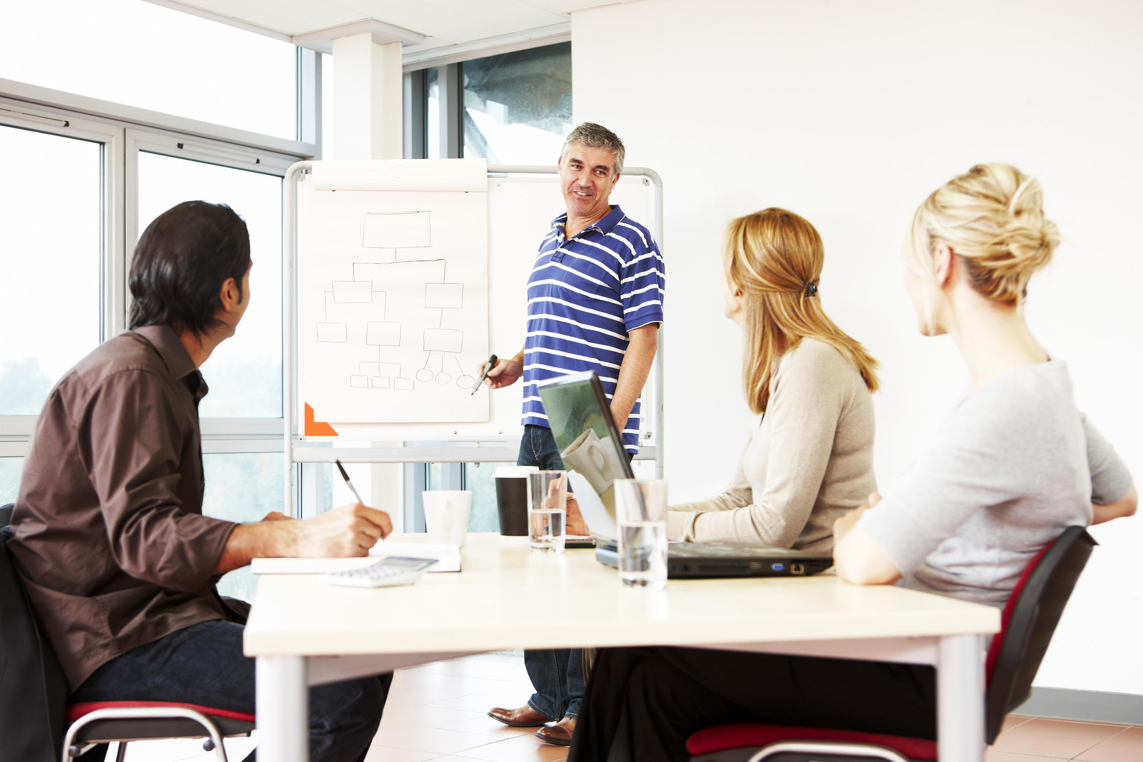 mature businessman giving presentation to his team