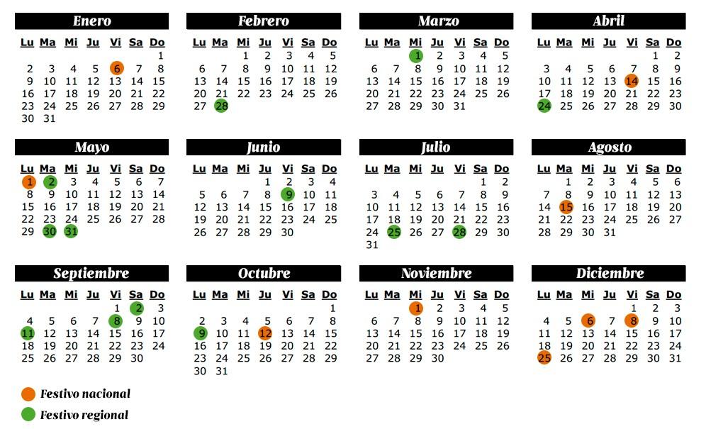 El calendario laboral y los festivos del 2017 recursos for Festivos valladolid 2017