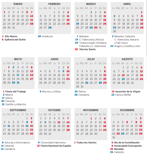El calendario laboral de 2018
