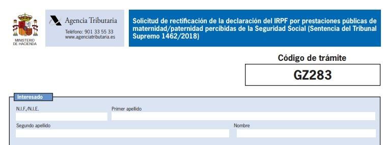 Formulario-maternidad Cómo reclamar la devolución del IRPF de las prestaciones de maternidad