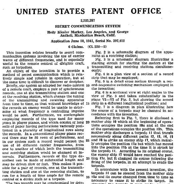patente-hedy-lamarr-hop-frecuency ¿Quién inventó el WIFI y el Bluetooth? Contribuciones de la actriz Hedy Lamarr