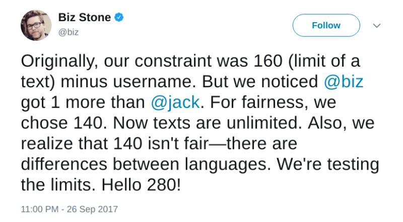 Biz-Stone Twitter amplía a 280 los caracteres por tuit