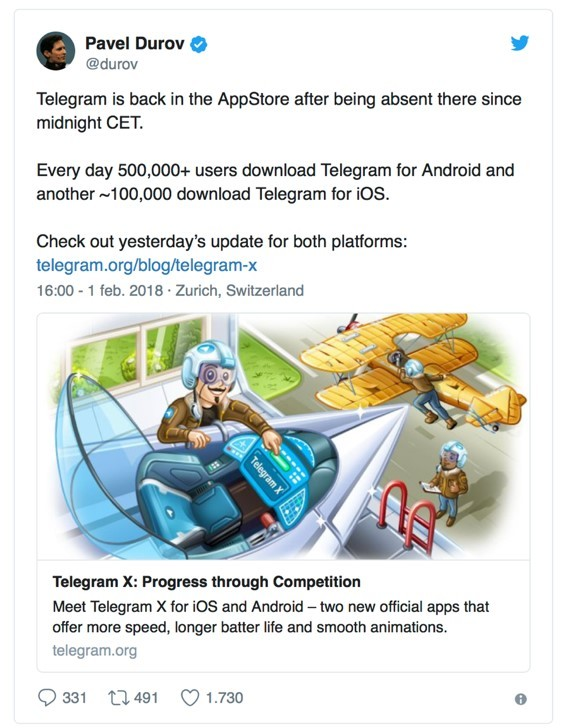 imagen3- Telegram un día de baja de la Apple Store por problemas de seguridad